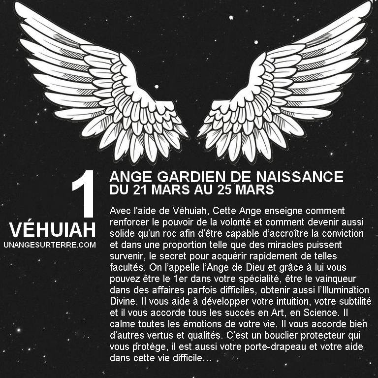 Ange Gardien de naissance 1 - VEHUIAH (un ange sur terre - unangesurterre.com)